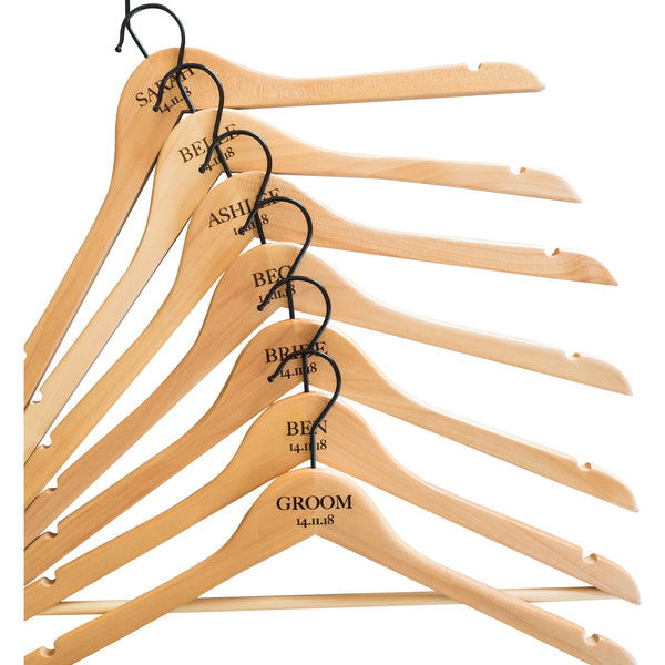 Personalised Hangers with Black Hooks - Set Of Seven