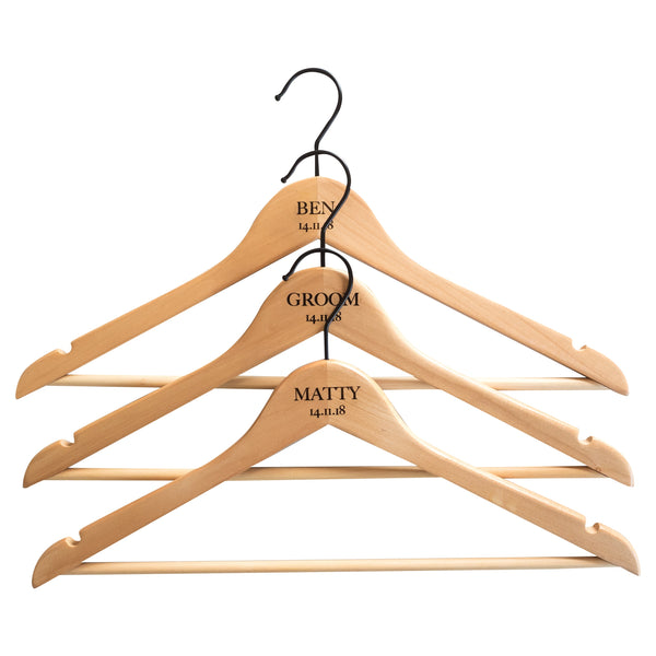 Personalised Hangers with Black Hooks - Set Of Three