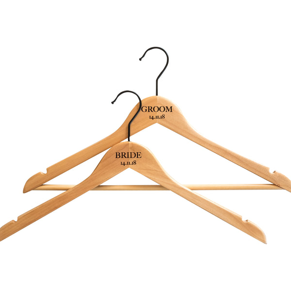 Personalised Hangers with Black Hooks - Set of Two
