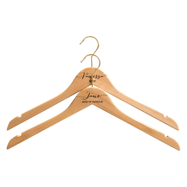 Personalised Hangers with Gold Hooks - Set of Two