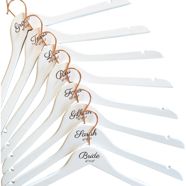 Personalised Hangers with Rose Gold Hooks - Set Of Eight