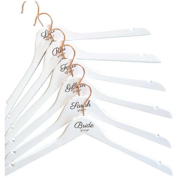 Personalised Hangers with Rose Gold Hooks - Set Of Six