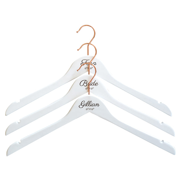 Personalised Hangers with Rose Gold Hooks - Set Of Three