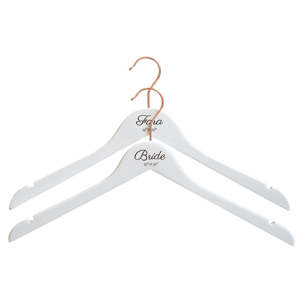 Personalised Hangers with Rose Gold Hooks - Set of Two