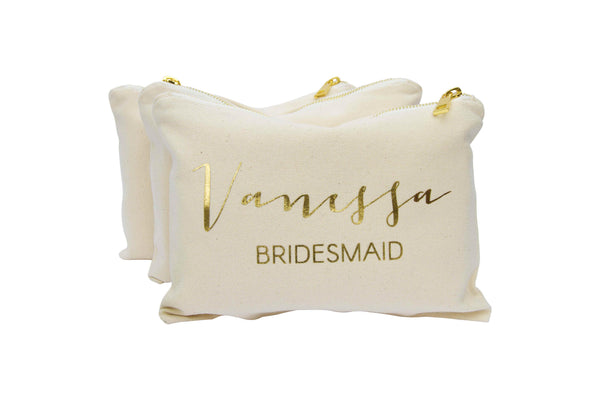 Personalised Makeup Bag in Modern Calligraphy