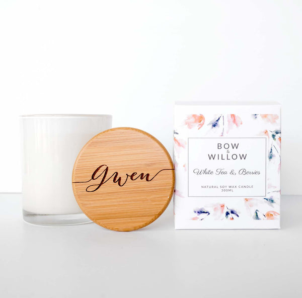 White Tea & Berries - CUSTOM NAME Personalised Soy Candle