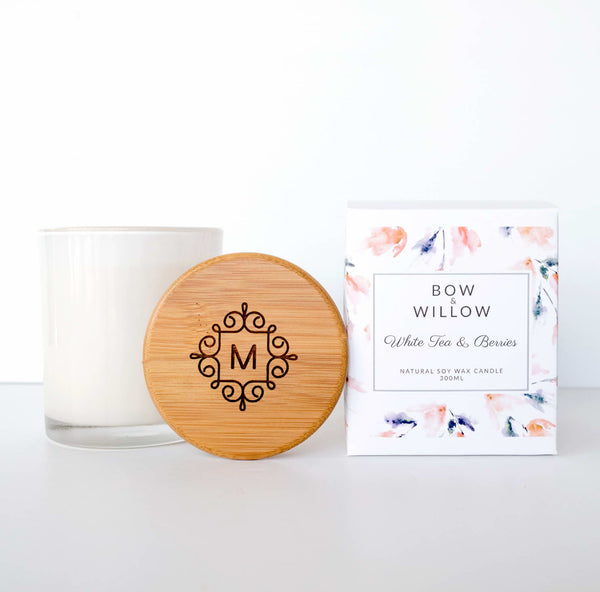 White Tea & Berries - Monogram Personalised Soy Candle