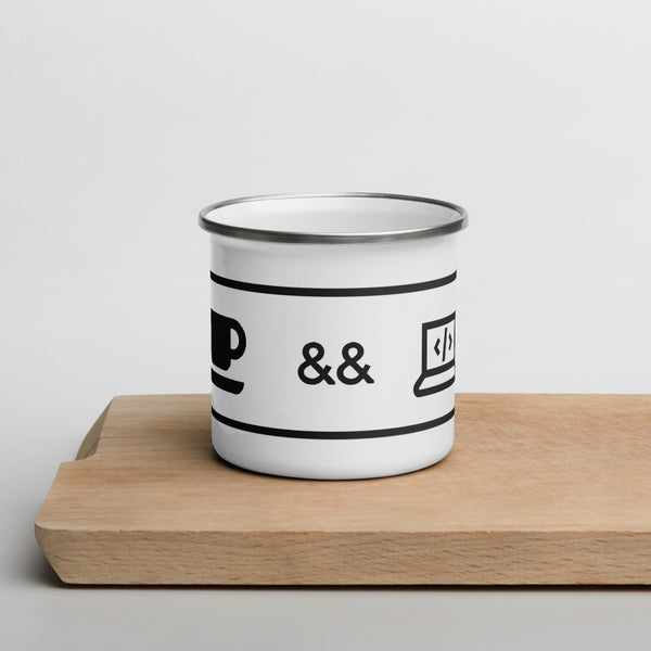 Coffee && Code Enamel Mug