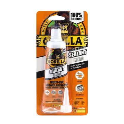 Gorilla Glue Adhesive Mould Resistant Silicone Sealant Sealer 80ml DIY Clear