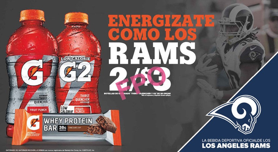 Gatorade Rams - 28oz with Whey Protein Bar Spanish (2017)