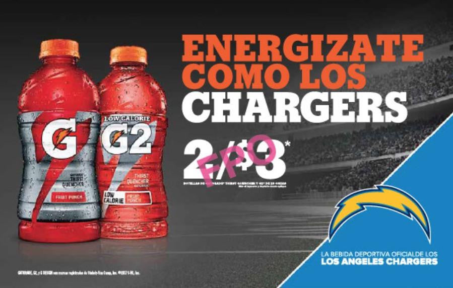 Gatorade Chargers - 28oz Spanish (2017)