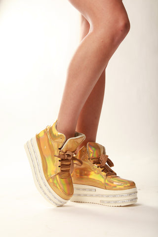 Gold Hologram LED Light-up Shoes