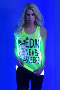 """EDM Never Sleeps"" Tank - Green"