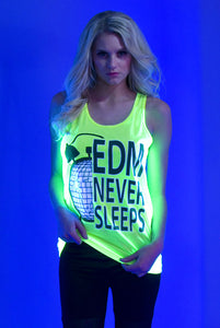 """EDM Never Sleeps"" Tank - Yellow"