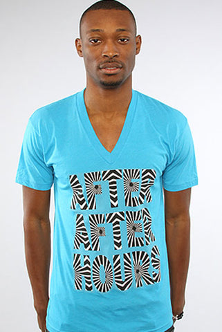 after hours shirt vneck neon blue mens