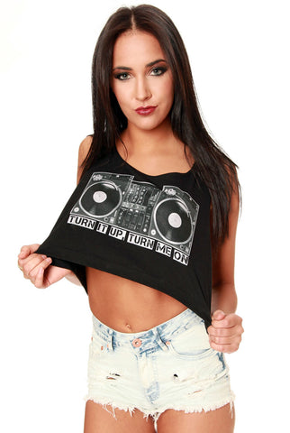 Turntable Crop Top Black