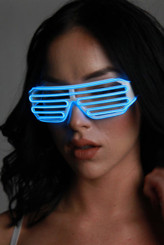 Our new light-up shutter shades are the ultimate party accessory. All </span><span>white frames lined with ultra bright pink El Wire.