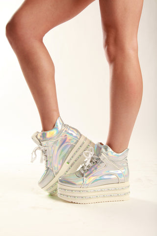 Silver Hologram LED Light-up Platform Shoes