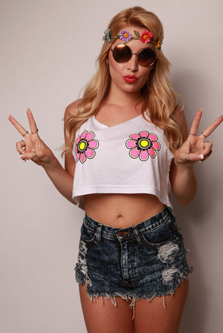 Electric Daisy Glowing Crop Top