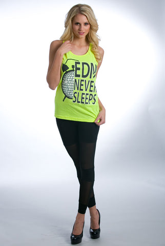 "Image of ""EDM Never Sleeps"" Tank - Yellow"