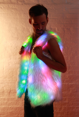 Image of Glow Fur Rainbow LED Vest