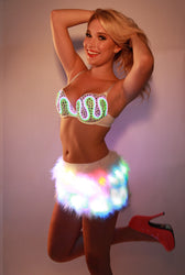 Glow Fur Rainbow LED Skirt