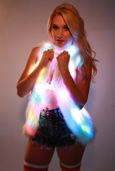 Glow Fur Rainbow LED Vest