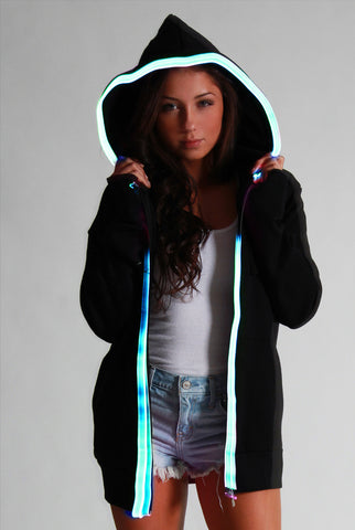 Image of Light-up Hoodie - Black with blue el wire