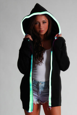 Image of Light-up Hoodie - Black with green el wire