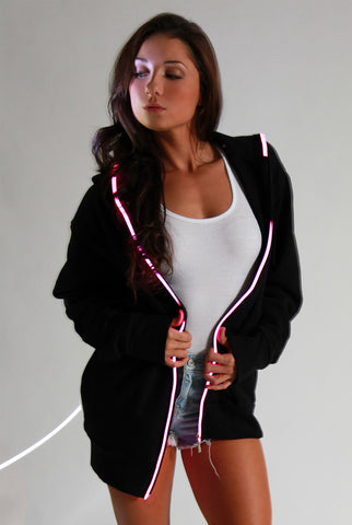 Light-up Hoodie - Black with pink el wire