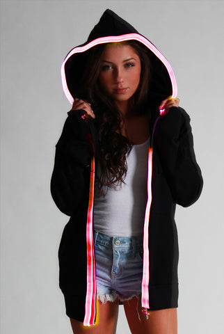 Light-up Hoodie - Black with red el wire