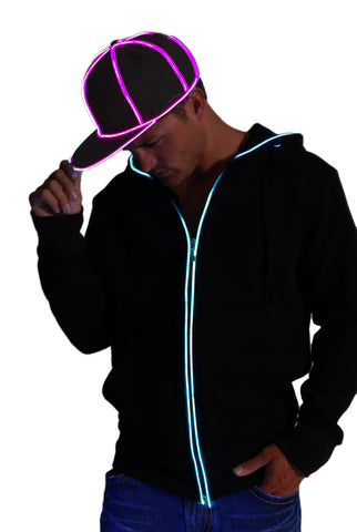 Snap Back Hat - Black with Pink  eL Wire