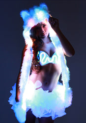 Glow Fur LED Spirit Bear Hood