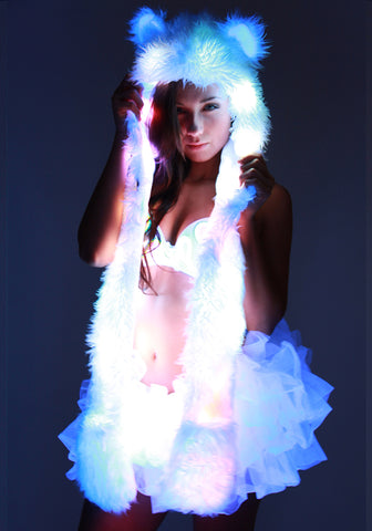 Image of Glow Fur LED Spirit Bear Hood 2