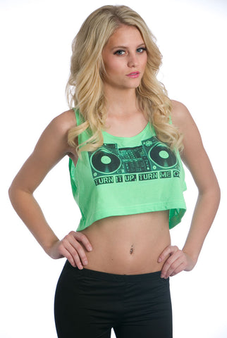 Turntable Crop Top Green