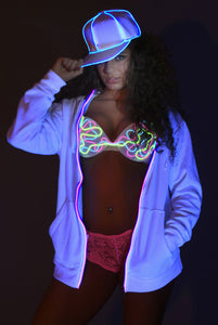 Light-up Hoodie - White with pink el wire