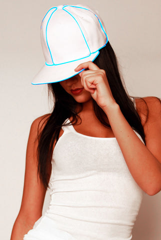 Snap Back Hat - White with Blue  eL Wire