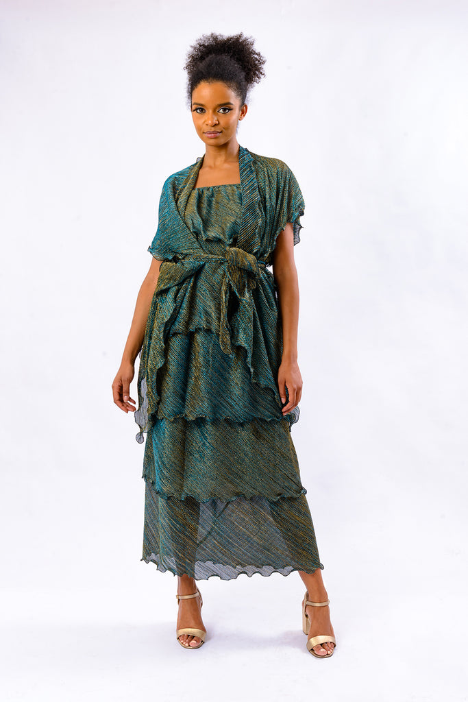 JOHANNA ZUKI DRESS WITH BLUE AND GOLD TONE