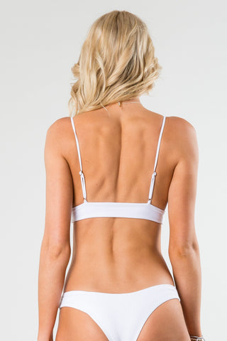 CRUISER TIE FRONT TRIANGLE BIKINI TOP - WHITE