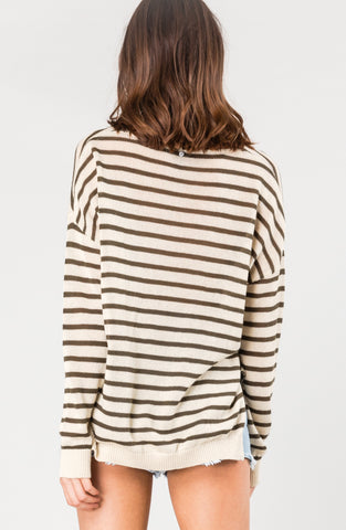 SURFACE VEE NECK KNIT - RIFLE STRIPE