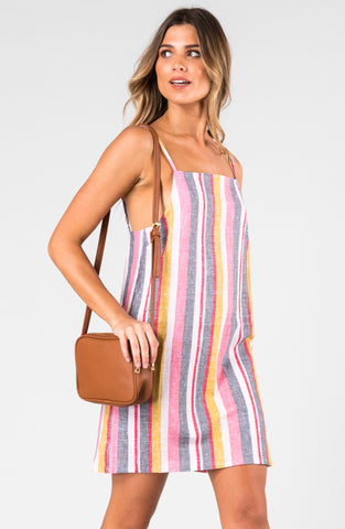 TROUBLEMAKER STRIPE DRESS - BLUSH