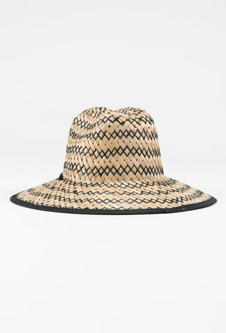 BOONY STRAW WEAVE HAT - BLACK 1