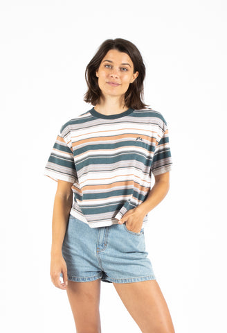 HORIZONS CROP SHORT SLEEVE TEE - BLUE SPRUCE