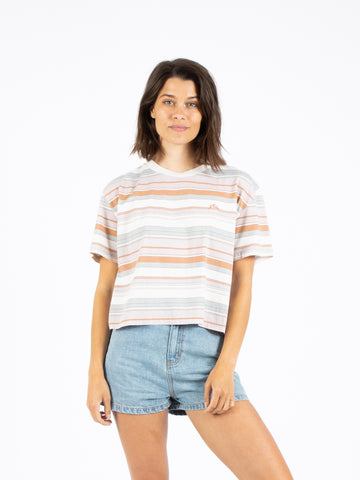 HORIZONS CROP SHORT SLEEVE TEE - ROSE CLOUD