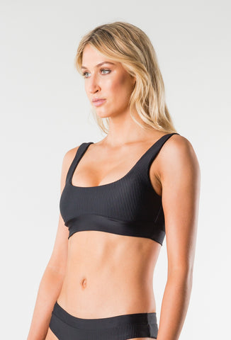CRUISE 2 SCOOP NECK BIKINI BRA TOP - BLACK