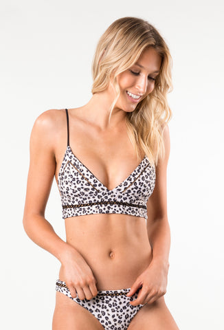 AMALFI LONGLINE TRIANGLE BIKINI TOP - CHEETAH
