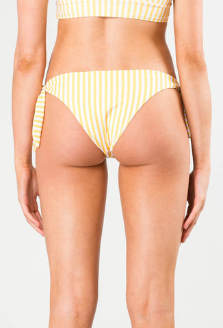 BLAZE STRIPED TIE SIDE MIDI BIKINI PANT - HONEY
