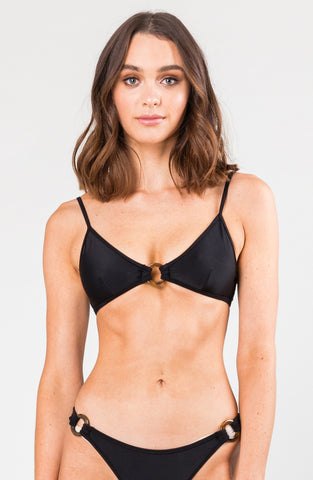 STELLA RING TRIANGLE BIKINI TOP - BLACK