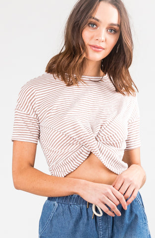 KODETTE CROSSED SHORT SLEEVE TEE - LATTE