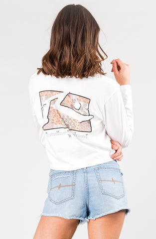LOOSE SOUL CROP LONG SLEEVE TEE - BRIGHT WHITE
